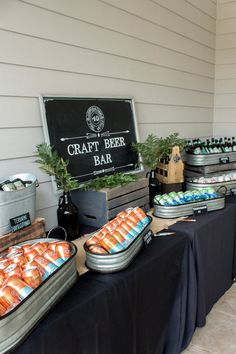 craft-beer-bar - Rustic & Manly Celebration Sweetwood Creative Co. 50th Birthday Party Ideas For Men, Beer Birthday Party, Birthday Party Design, 30th Birthday Parties, 40th Birthday Themes, Husband 30th Birthday, Birthday Decorations For Men, 60th Birthday Party, Birthday Celebration
