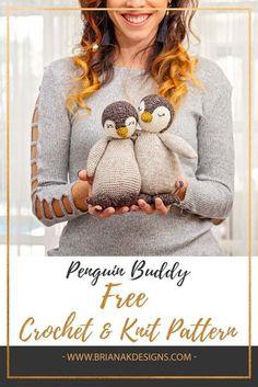 Knit & Crochet Penguin Buddy Pattern - Stricken ist so einfach wie 3 Das S. Knit & Crochet Penguin Buddy Pattern - knitting is as easy as 3 Knitting boils down to three essential skills. Crochet Gratis, Crochet Amigurumi, Amigurumi Patterns, Crochet Dolls, Crochet Baby, Free Crochet, Knit Crochet, Crochet Teddy, Crotchet
