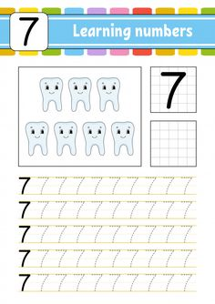 Trace and write. leaning the number seve. Preschool Writing, Numbers Preschool, Learning Numbers, Preschool Curriculum, Preschool Activities, Kindergarten, Teaching Kids, Kids Learning, Numbers For Kids