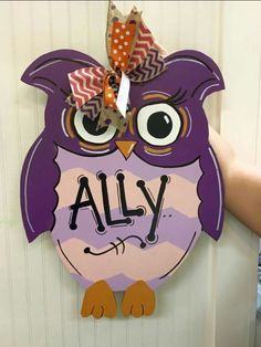 Wooden Door Hanger Owl / Personalized / Girls Bedroom / Craft Night Out