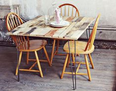 DIY pallet dining table worth drooling over is this one, made by A Beautiful Mess! Crafted by cutting the pallet slats to a uniform size, at...