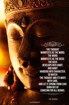 For more inspirational habit quotes click through! Habit Quotes, Karma Quotes, Buddha Teaching, Buddhist Quotes, Buddha Quote, Coping With Stress, The Deed, Improve Mental Health, Positive Psychology