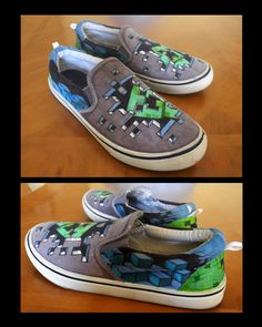 custom minecraft shoes by *tdm-studios on deviantART. My son would LOVE these! How do I get a pair? Minecraft Shoes, Minecraft Outfits, Minecraft Crafts, Tdm Minecraft, Minecraft Clothes, Minecraft Awesome, Minecraft Videos, Minecraft Stuff, Painted Canvas Shoes