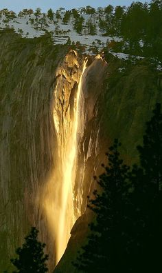 Horsetail Fall, located in Yosemite National Park in California, is a seasonal waterfall that flows in the winter and early spring. The fall occurs on the east side of El Capitan.