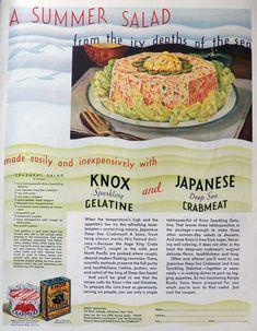 1932 Knox Gelatine Ad ~ Crabmeat Salad Recipe