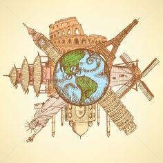 4571060_rajz-híres-épületek-körül-Föld-földgömb.jpg (600×600)