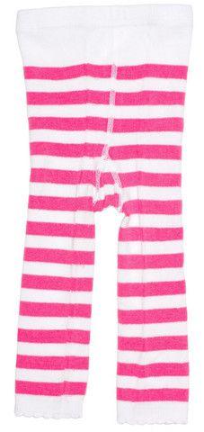 Pink & Whie Striped Leggings