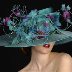 Mambo  Vivien Sheriff Millinery - sensational large brim hat trimmed with feather butterflies.