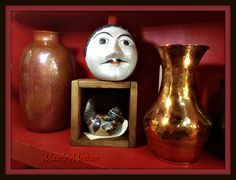 Mainly Mexican Tienda 2017 - MAINLY-MEXICAN - copper hand hammered in Santa Clara del Cobre, ceramic head banks by Solis family of Tonala and burnished birds