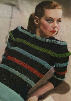 1940s Striped and Ruched Jumper from by SubversiveFemme on Etsy, $2.00