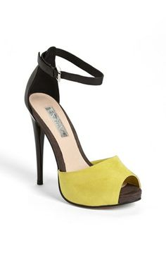 Peep toe sandal - love the yellow!