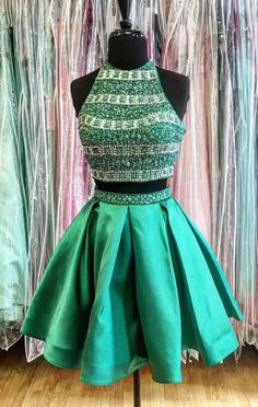 two piece hmecoming dresses,short homecoming dresses,green homecoming dresses,shoct cocktail dresses,beaded homecoming dresses @SevenProm