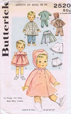 ORIGINAL Doll Clothes PATTERN 2520 16 in Betsy Wetsy Tiny Tears Kissey Toodles