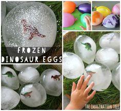 Frozen Dinosaur Eggs Sensory Play - The Imagination Tree Dinosaurs Preschool, Dinosaur Activities, Dinosaur Crafts, Sensory Activities, Sensory Play, Toddler Activities, Kid Crafts, Dinosaur Projects, Preschool Science