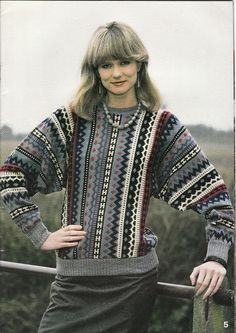 Vintage Knitting Machine Pattern Instructions Ladies Stripey Jumper 32 -38  Bust