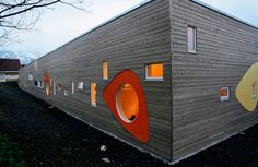 The Architecture of Early Childhood: A fun and playful design for a kindergarten in Tromso, Norway which utilises flexible 'playing walls' Kindergarten Architecture, Kindergarten Design, School Architecture, Interior Architecture, Tromso, Daycare Design, School Design, Design Maternelle, Norway Design