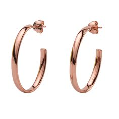 Rose Gold Plated Oval Drop Earrings  Sterling silver oval drop earrings plated with rose gold. These oval drop earrings are highly polished with rose gold finishing measuring 33mm x 23mm they are a good size. They are lightweight and comfortable to wear all day and will arrive packaged in deluxe velvet pouch and earrings box.