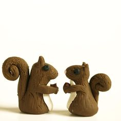 Set of two squirrels... handmade clay sculpey acorn adorable cute brown white fortheband small art