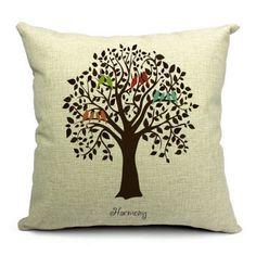 Cute Bird On Tree Cotton Linen Throw Pillow Case Sofa Cushion Home Bedroom Decor