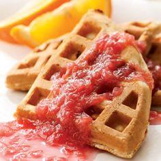 Rhubarb Waffles with Rhubarb Sauce Recipe http://recipes.millionhearts.hhs.gov/recipes/rhubarb-waffles-rhubarb-sauce