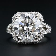 6.83 carat round brilliant cut Diamond ring - GIA 'F' SI2. at Lang Antiques.