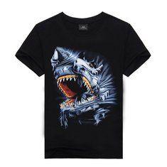 Men's Summer Fashion Unique 3D Shark Printing Black Short-sleeved Cotton T-shirt