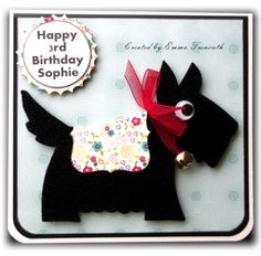 Sizzix scotty dog die cut in black felt bell collar so it jingles