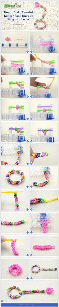 Kids Jewelry on How to Make Colorful Rubber Band Ring Bracelet with Loom