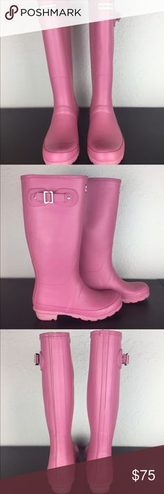 Pink Hunter rain boots Gently used Hunter rain boots. Great condition, comfy, and hot pink Hunter Boots Shoes Winter & Rain Boots