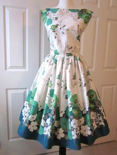 Vintage Style Dress Border Print Garden Party Frock by TenderLane, $189.00