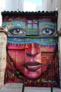 Graffiti art in spain - just as beautiful as I remember it. Artwork by Anarkia 3d Street Art, Murals Street Art, Amazing Street Art, Best Street Art, Street Art Graffiti, Amazing Art, Street Artists, Berlin Graffiti, Urban Graffiti