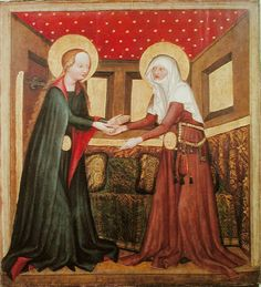 """Visitation"" from the St. James Altarpiece of the Convent of St. Agnes of Bohemia, c. 1430"