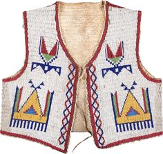 A SIOUX CHILD'S BEADED HIDE VEST. c. 1890... American Indian | Lot #50044 | Heritage Auctions