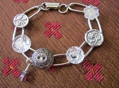 Silver & glass antique BUTTON bracelet with 1800s buttons