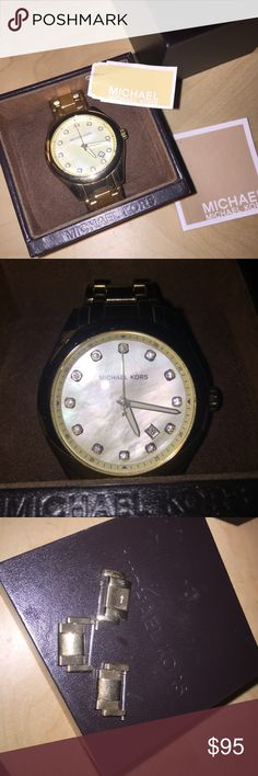 Michael Kors Gold Watch Great condition, pictures shown. Includes 3 extra links to attach for increased length. Comes with original box and tags!! Gold color with pearl clock. Glow in the dark numbers for night time.                                                  •Offers Are ALWAYS Welcome! 🌸  •Same Day Shipping!  •No Trades  •Thank You for Looking at My Closet! 🌼 Michael Kors Accessories Watches