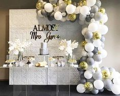 PartyWoo Gray and White Balloons 70 pcs 12 Inch Gray Balloons White Balloons Matte Balloons, Gold Confetti Balloons, Balloons for Wedding - Balloon ideas Bridal Shower Table Decorations, Bridal Shower Desserts, Bridal Shower Tables, Elegant Bridal Shower, Tea Party Bridal Shower, Baby Shower Decorations For Boys, Birthday Decorations, Wedding Decorations, Balloon Decorations
