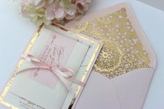 Blush and Gold Invitation-TRUE BLUSH on Etsy, $6.50 this coupled with the brown tooled leather paper is almost exactly what I have in mind @Susan Caron Caron Brown