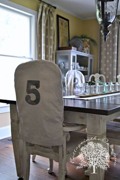 Drop Cloth Chair Covers  http://cottageintheoaks.com/2013/08/drop-cloth-chair-covers/