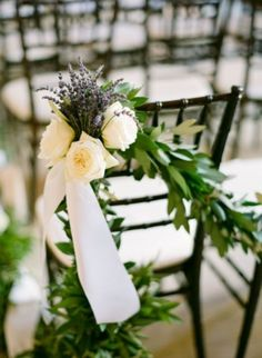 74 Wedding Chair Decor Ideas With Floral Swags And Posies | HappyWedd.com