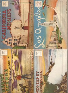 Vintage California Postcard Folder Booklet Lot Los Angeles Monterey Desert Scenes Missions. $10.00, via Etsy.