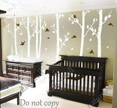 Tree Decals nursery decals Kids wall decals baby decal  room decor wall decor wall art birch decals-birds in Birch forest on Etsy, £54.62