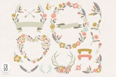 Check out Floral wreaths heart antler laurels by GrafikBoutique on Creative Market