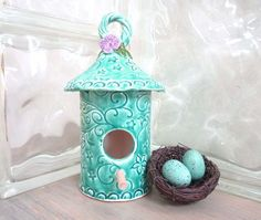 For the birds that will start to arrive soon ☺Birdhouse Flower Blossom and Vines  Spring by MyMothersGarden, $42.00
