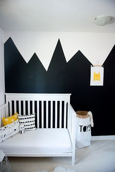 Black and White Toddler Room Love this monochrome with touch of yellow design. Our Batman mask print looks great in this room. You can by it here if interested http://goo.gl/BsHGKN