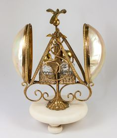 Superb Antique French Perfume or Scent Caddy, Mother of Pearl Shells,  from antiques-uncommon-treasure on Ruby Lane