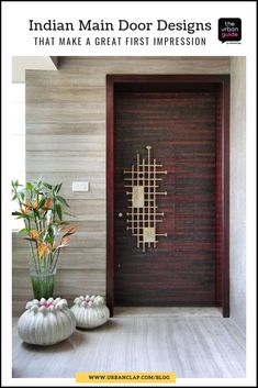 Home entrance decor 15 Indian Main Door Designs That Make a Great First Impression Tips On Using A W Main Entrance Door Design, Wooden Main Door Design, Home Entrance Decor, House Entrance, Entryway Decor, Entrance Ideas, Home Front Door Design, House Main Door Design, Small Entrance
