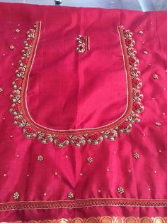 To order pls what's app on 9492991857 Kids Blouse Designs, Simple Blouse Designs, Blouse Designs Silk, Designer Blouse Patterns, Kerala Saree Blouse Designs, Maggam Work Designs, Work Blouse, Zardosi Embroidery, Embroidery Fabric