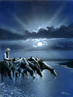 Cowboy night by Bill Jaxon Cow Girl, Cowboy Artwork, Cowboy Horse, West Art, Le Far West, Country Art, Equine Art, Wildlife Art, Old West