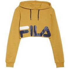 Women's Fila Pam Crop Hoodie ($68) ❤ liked on Polyvore featuring tops, hoodies, sweaters, graphic hoodies, graphic hoodie, fila hoodie, hooded sweatshirt and cropped hoodies