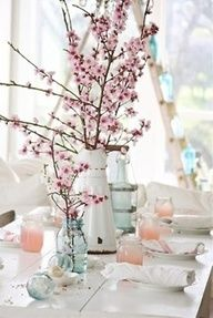 Cherry Blossom Wedding Theme | Super easy DIY centerpiece - cherry blossom branches in mason jars and ...